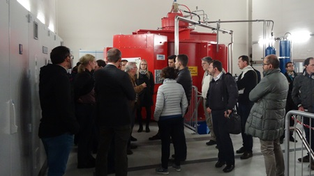 The consortium visiting the hydroelectirc powerplant Keselstrasse in Kempten